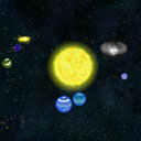Standard solar system with a yellow star.